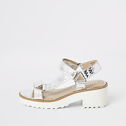 Girls silver metallic chunky heeled sandals