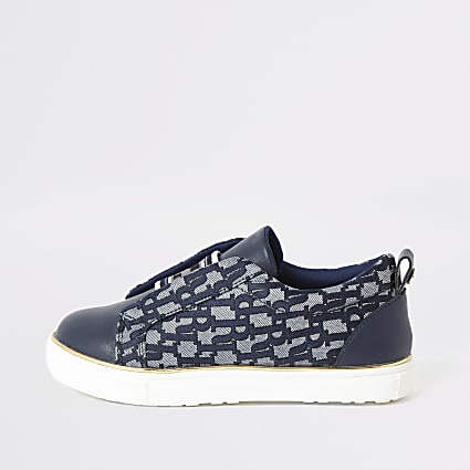 Girls blue RI jacquard elasticated trainers