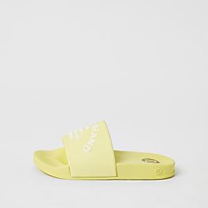 Gele jelly slippers met RI-studioprint voor meisjes