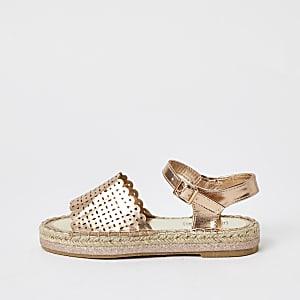 Sandales espadrilles métalliséesdorées pour fille