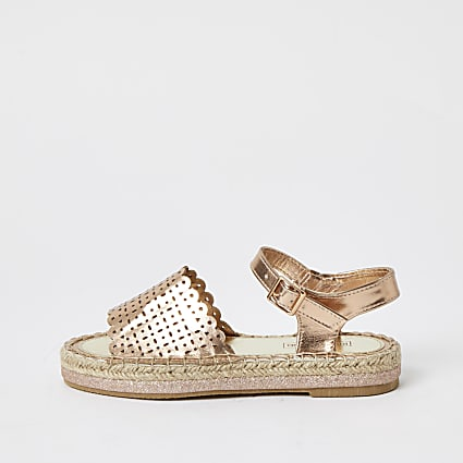 Girls gold metallic espadrille sandals