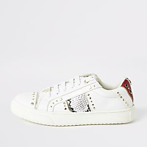 Weiße Sneaker mit Schlangenleder-Print und Nieten für Mädchen