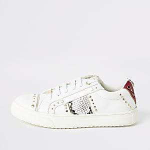 Witte sneakers met studs en luipaardprint voor meisjes