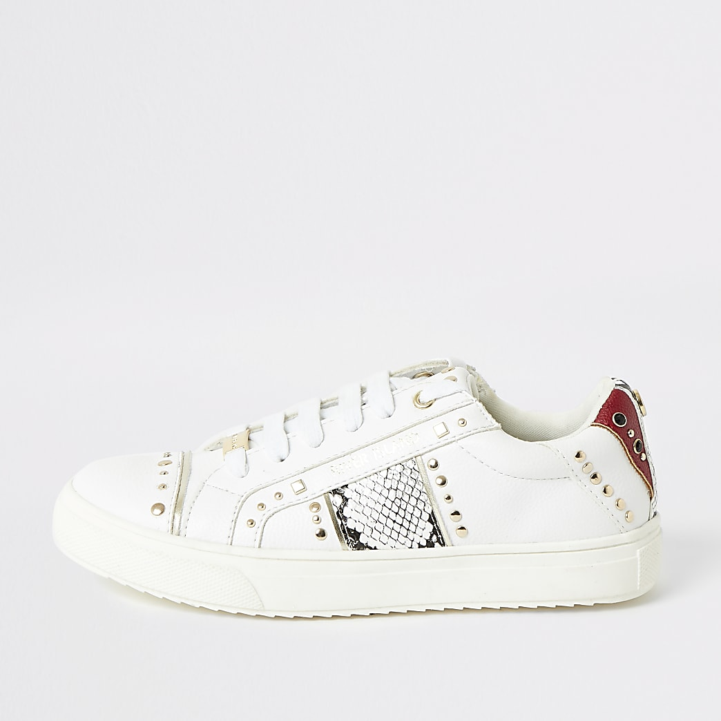 Girls white snake printed studded trainers