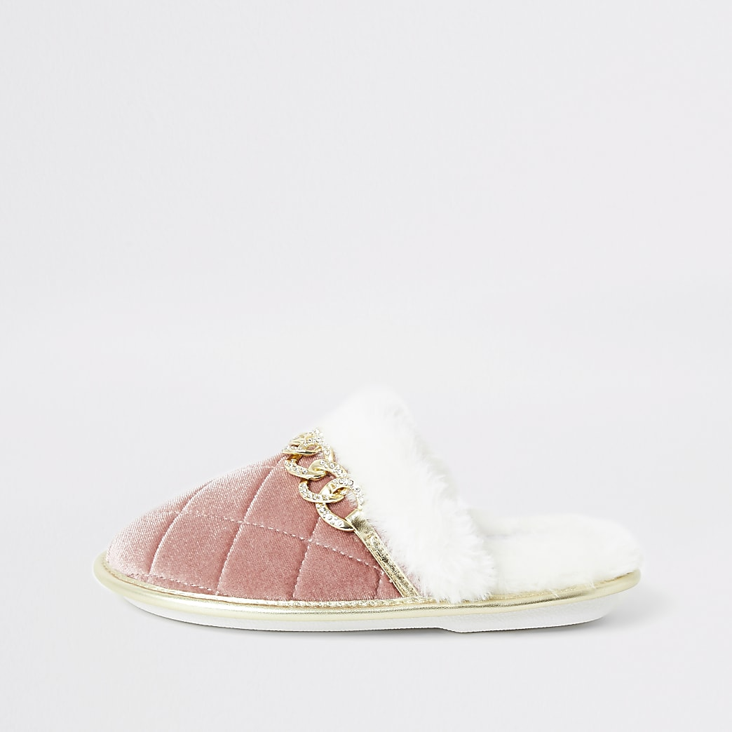 Girls pink chain front quilted mule slippers