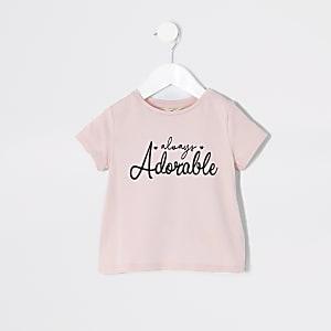 Mini - Roze T-shirt met 'Always adorable'-print voor meisjes
