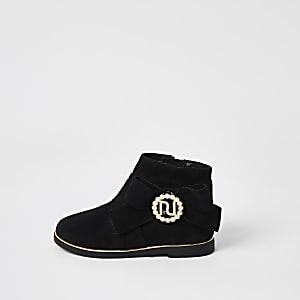 Mini - Zwarte laarzen met parels voor meisjes