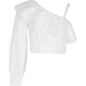 Crop top blanc asymétrique en popeline pour fille