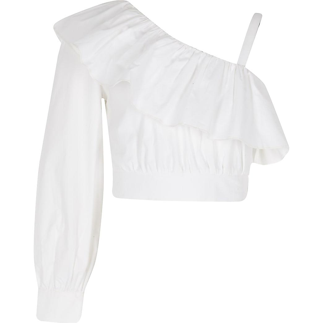 Girls white one shoulder poplin crop top