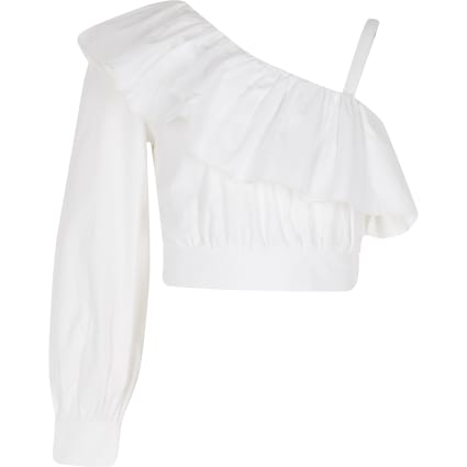 Girls white one shoulder poplin crop top
