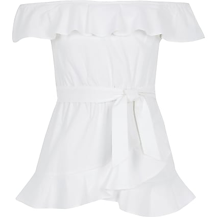 Girls white frill tie waist bardot top