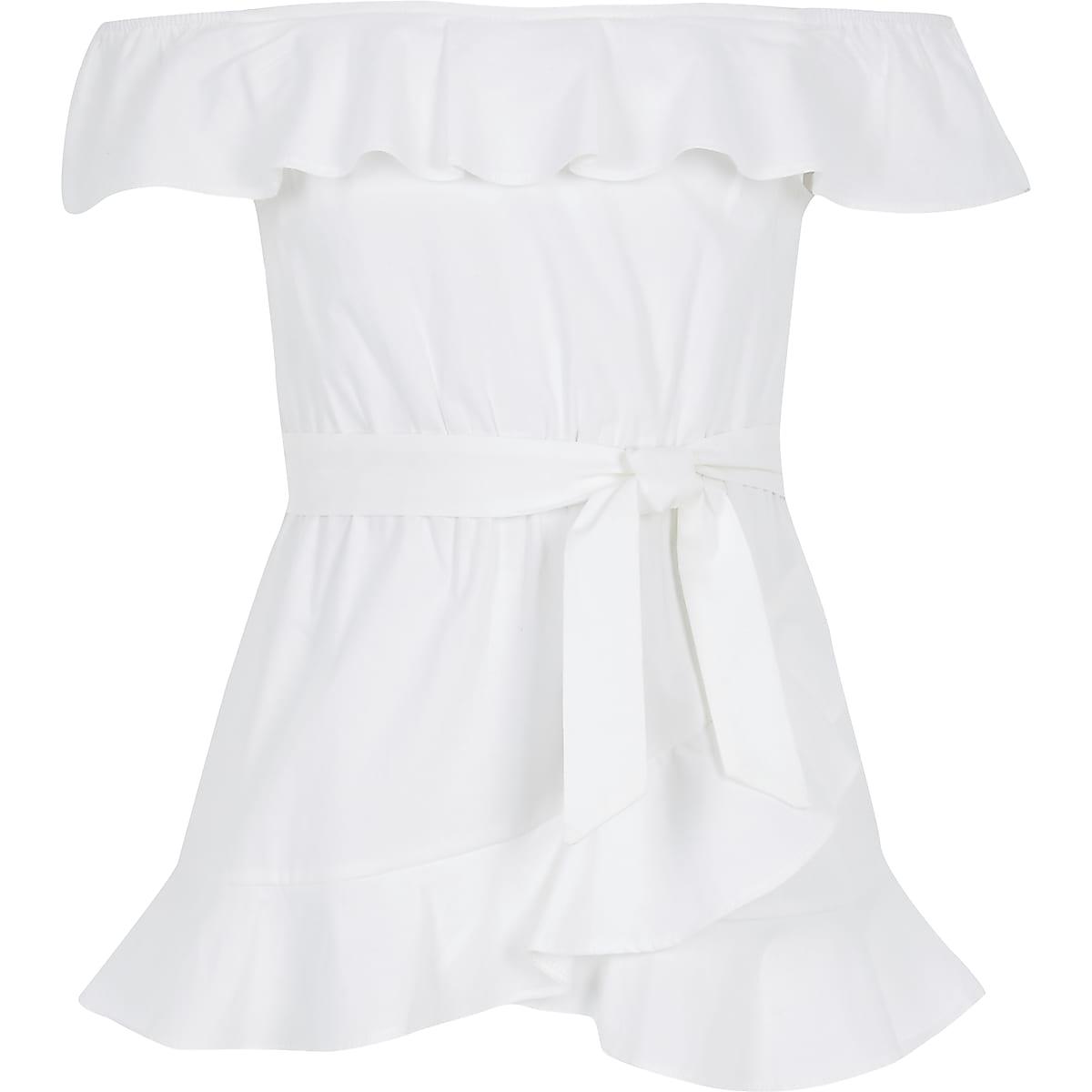 Girls white frill tie waist bardot top