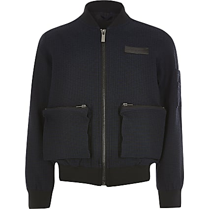Boys navy Maison Riviera textured jacket