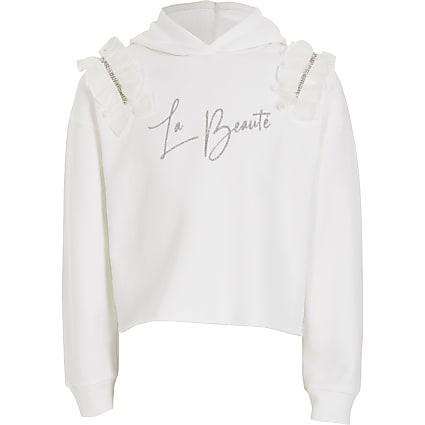 Girls white 'La Beaute' frill hoodie