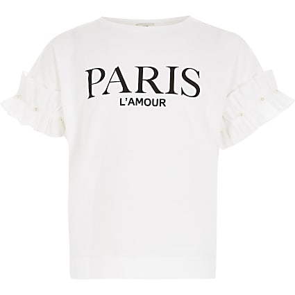 Girls white 'Paris' ruffle sleeve T-shirt