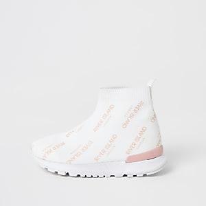 Mini - Witte gebreide hoge sneakersvoor meisjes