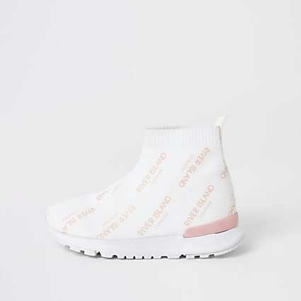 Mini girls white knitted high top trainers