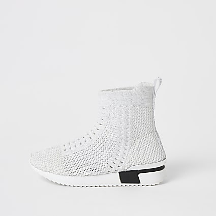 Mini girls white knitted hi-top sock trainers