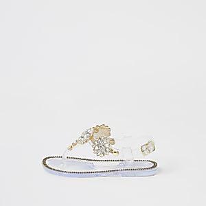 Sandales transparentes ornées de strass Mini fille