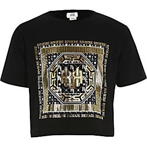 Schwarzes Kurz-T-Shirt mit Foliendruck für Mädchen