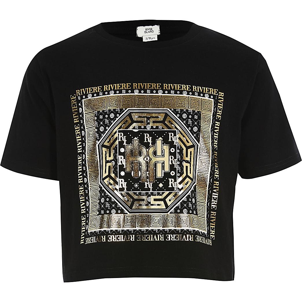 Zwart cropped T-shirt met folieprint voor meisjes