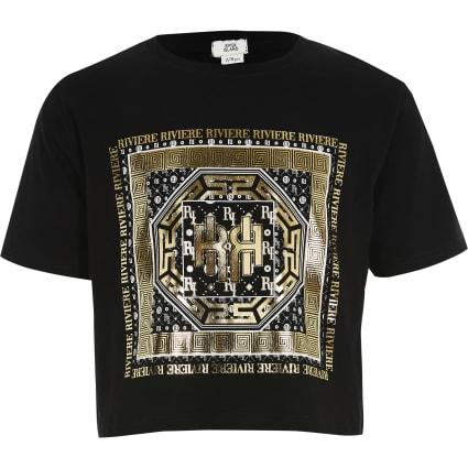 Girls black foil printed cropped T-shirt