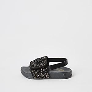 Mini - Zwarte glitter RI instappers voor meisjes