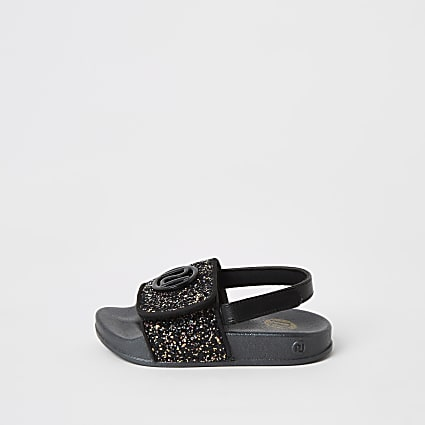 Mini girls black glitter RI sliders