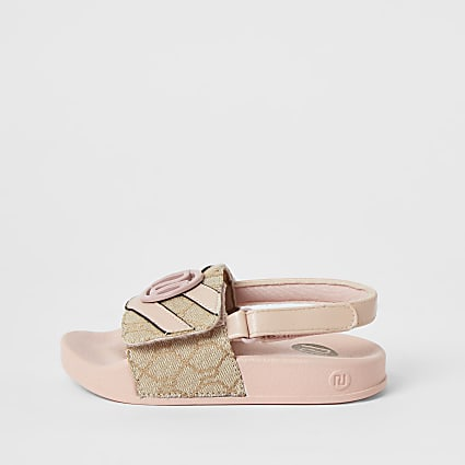 Mini girls light pink RI jacquard sliders