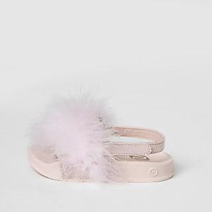Mini girls pink marabou fluffy sliders