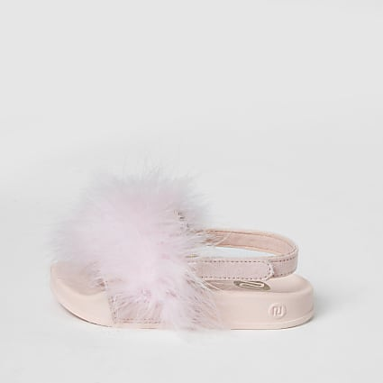 Mini girls pink marabou fluffy sliders