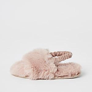 Mini -Roze pantoffels van imitatiebont met siersteentjes voor meisjes