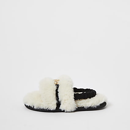 Mini girls cream faux fur panther slippers