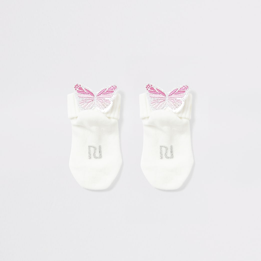 Baby cream butterfly embellished socks