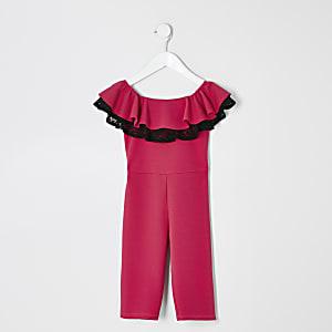 Combinaison rose avec encolure Bardot en dentelle et volants Mini fille