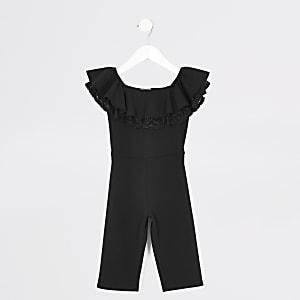 Schwarzer Overall mit Bardot-Ausschnitt, Spitze und Rüschen für kleine Mädchen