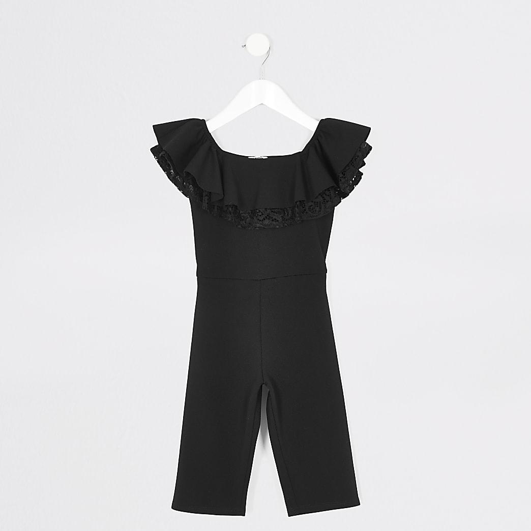 Mini girls black lace frill bardot jumpsuit