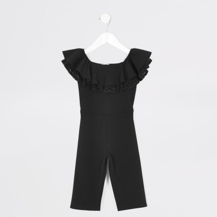 Mini girls black lace frill bardot jumpsuit