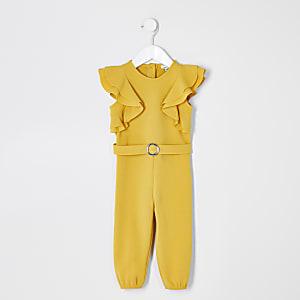 Mini - Gele jumpsuit met ceintuur en ruches voor meisjes