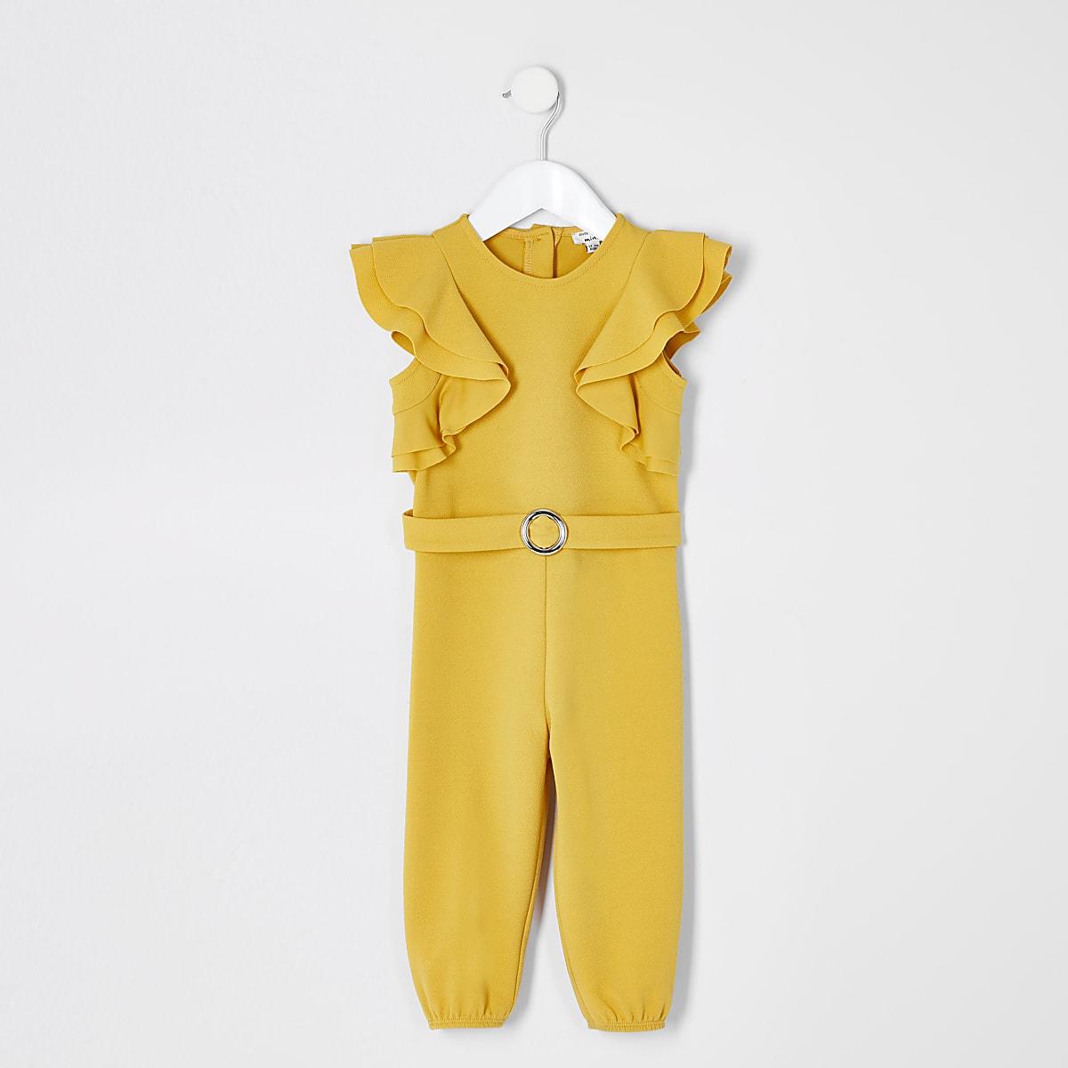 Mini girls yellow belted ruffle jumpsuit