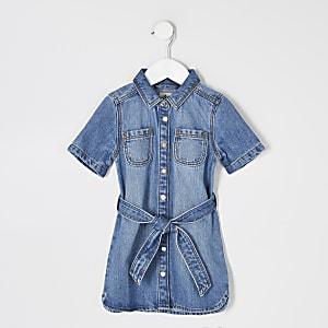 Mini – Blaues Jeansblusenkleid mit Gürtel für Mädchen