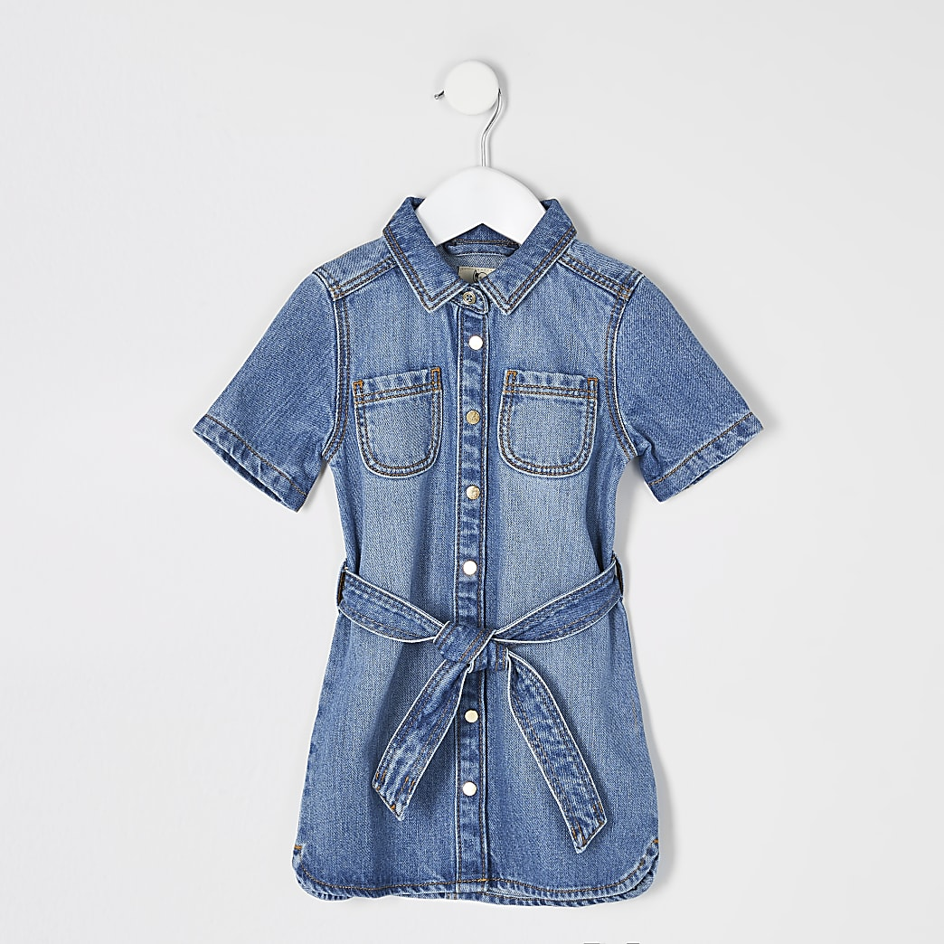 Mini girls blue belted denim shirt dress