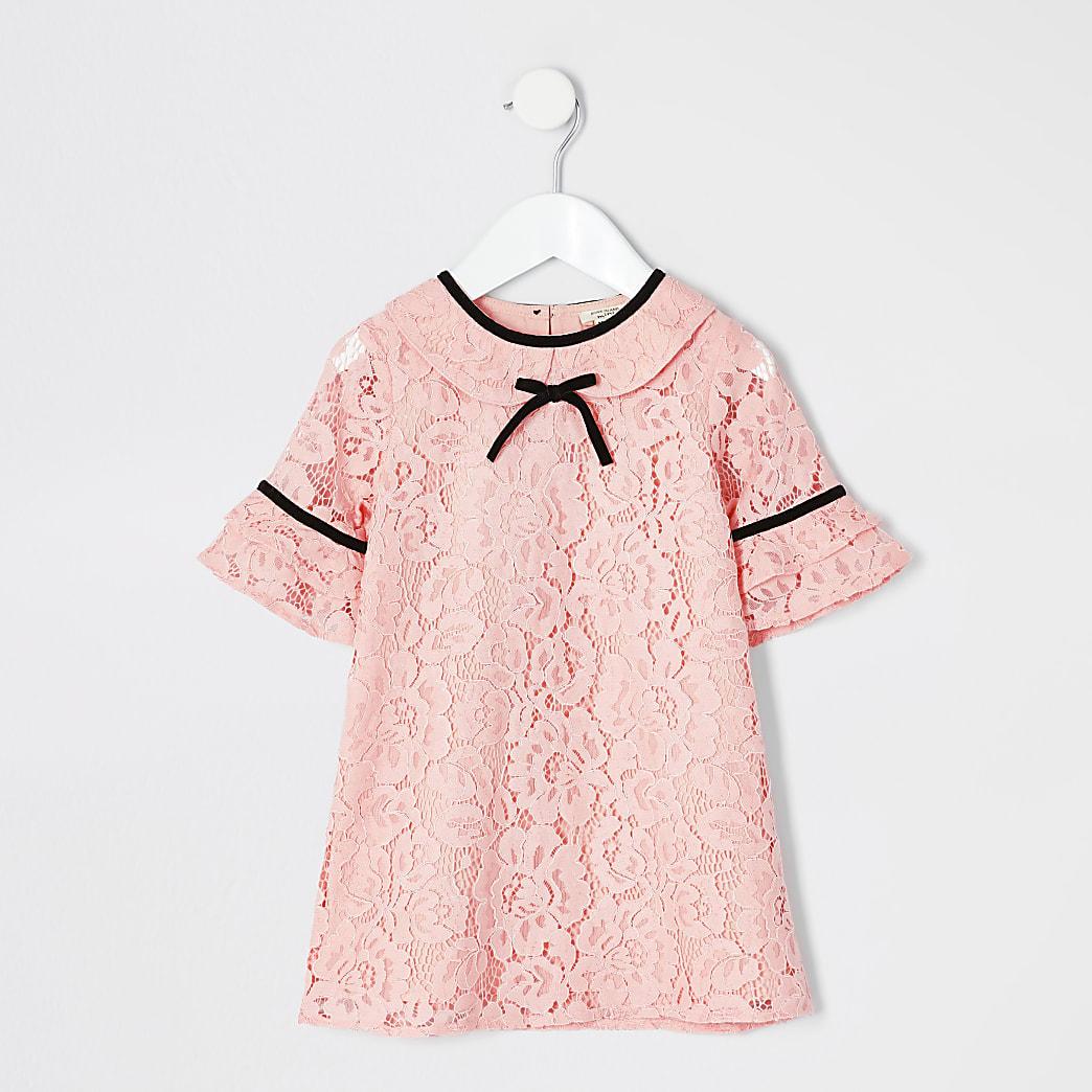 Koraalrode kanten jurk voor mini girls