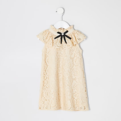 Mini girls yellow lace bow collar shift dress