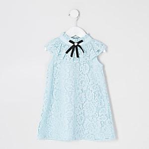 Robe droite bleu en dentelle avec colànœudMini fille