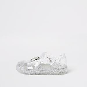 Sandales RI argentées en plastique  Mini fille