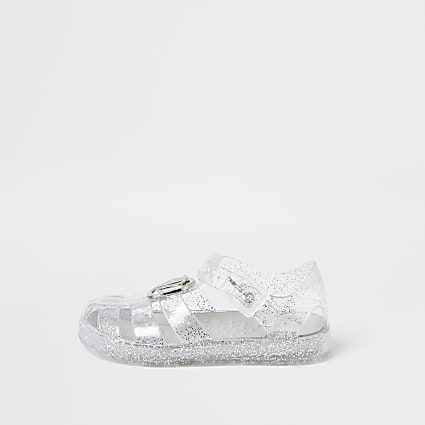 Mini girls silver RI jelly sandals