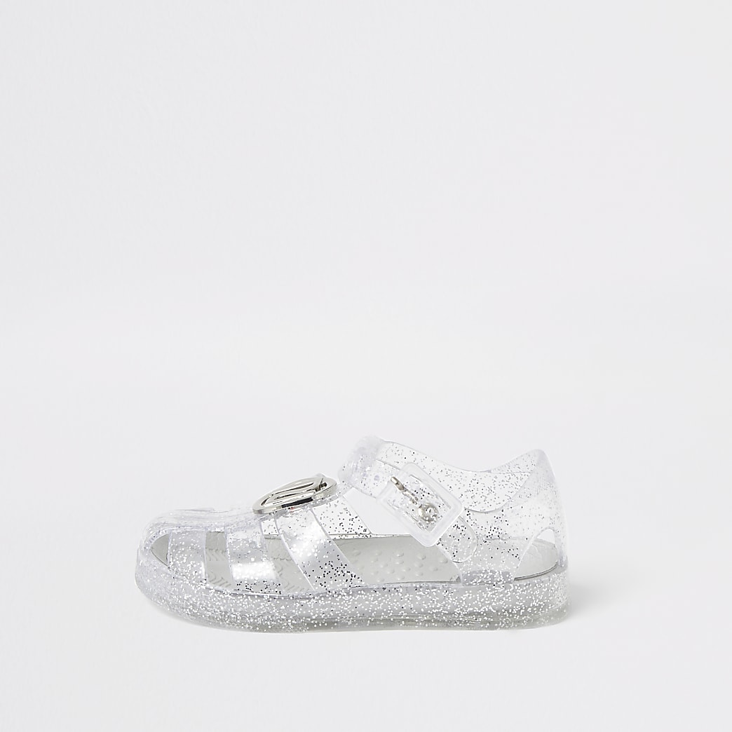 Mini - Zilverkleurige jelly sandalen met RI-embleem voor meisjes