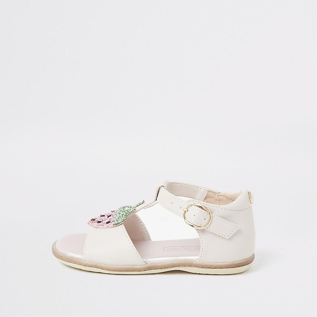 Mini girls pink strawberry sandals