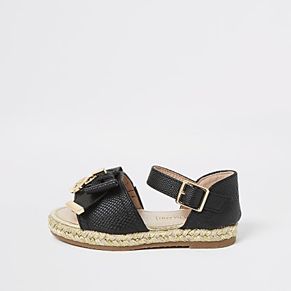 Mini girls black bow espadrille sandals